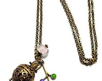 A scent! Necklace has perfume enameled flower, purple bead