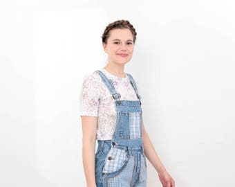 90s Patch Work Overall Shorts Size Extra Small/Small