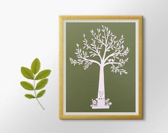 Tree Paper Cut  / Bespoke Wedding Gift / Tree Silhouette / Wedding Papercut / Paper Anniversary / Wedding Tree / Paper Tree / Paper Cut Tree