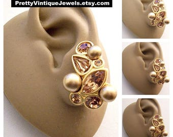 Givenchy Brown Satin Bead Clip On Earrings Gold Tone Vintage Round Pear Faceted Stones White Pads