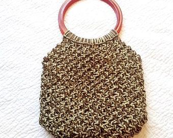 Vintage Boho Style Macrame Bag - Hippie Festival Purse - Top Handle Handbag - Acrylic Ring - Brown Cream - 1970s Style - Hand Knotted