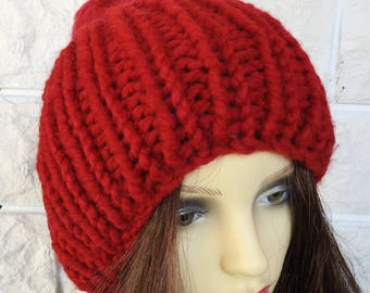 Hand Knitted Women's Red Ribbed Winter Hat With A Red Pompom - Free Shipping