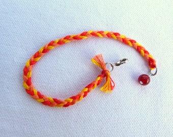 "Bracelet ""Pop"" cotton, brass and natural stone"