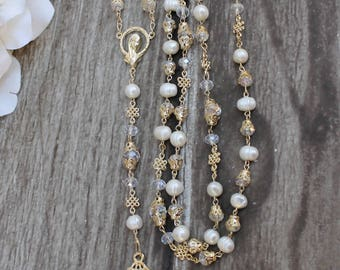 FAST SHIPPING!! Handcrafted Beautiful Wedding Gold Rosary, Wedding Rosary, Rosary Wedding Gift, Ivory Rosary, Pearl Wedding Rosary