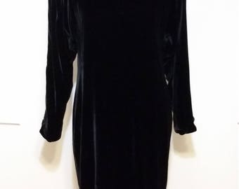 Black velvet dress, S, M, velvet dress, long sleeve dress, formal dress, black formal dress, short dress, black dress, holiday dress
