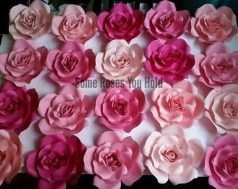 Pink Ombre Roses Paper Flowers Wall Decor,20pc Paper Flowers Set,Paper Flower Backdrop,Baby Shower Decor,Paper Roses,Party,Wedding,Nursery