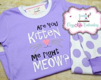 Kitten pajamas, Cat pajamas,Kitty Pajamas, girls pajamas, girls pj, spring pj, spring pajama, pj, Kitten Me Right Now, appliqué, Embroidery