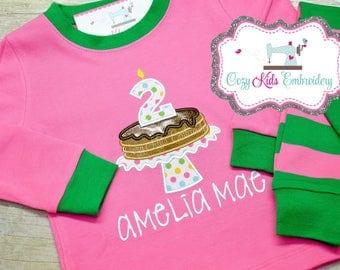 Pancake pajamas, Pancake PJs, Girls pancake pajama, girls pancake pj, girl baby pajamas, pancake pajama party, embroidery appliqué