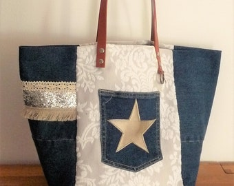 tote bag patchwork recycled jeans, French toile de jouy shabby lace, silver glitter star leather fringe, camel leather handles