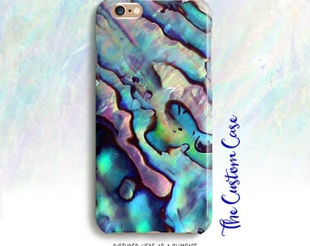 Pastel Abalone Phone Case, Iridescent Abalone Shell Case, Beachy Phone Case, Shell Phone Case, Turquoise and Pink Abalone Case