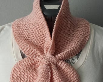 Hand Knitted Self-Tie Neck Warmer in Pale Peach