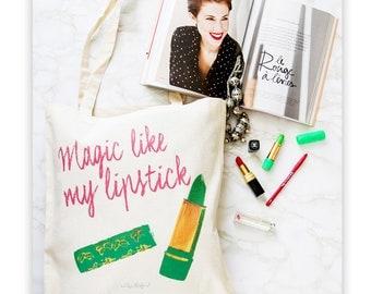 Tote Bag - Cotton ecru - Pop Art - Magic Lipstick