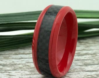 8mm Red Tungsten Ring, Personalized Custom Engrave Tungsten Wedding Ring, Carbon Fiber Tungsten Wedding Ring, Comfort Fit