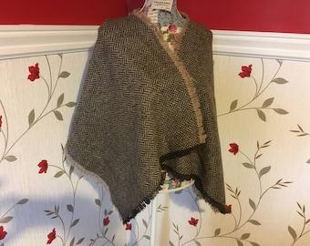 Herringbone Shawl scarf - woven wool - Irish Tweed - 100% wool - Light Green and Brown with Multicolor fleck - Warm