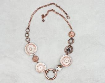 Rustic mixed media necklace Asymmetric artisan necklace Boho beach necklace Polymer clay jewelry Gemstone jewelry EvaAndreDesign