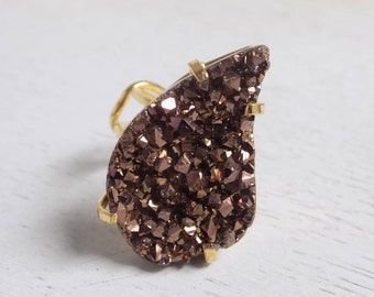 Gift For Her, Druzy Ring, Bronze Druzy Ring, Teardrop Stone Ring, Crystal Ring, Large Stone Ring, Gold Adjustable Ring, Statement Ring G1-34