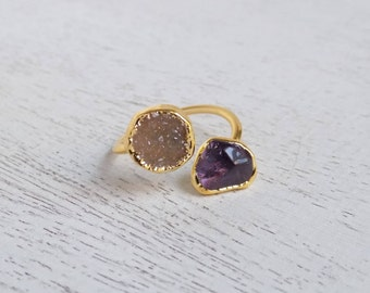 Minimalist Druzy Ring, Gold Druzy Ring, Amethyst Ring, Boho Natural Stone Ring, Crystal Ring, Small Gemstone Ring, Wife Gift For Her, R3-24