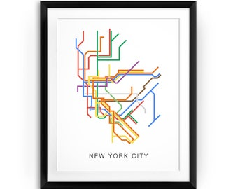 New York City Subway Map, City Transit Map Print, NYC Metro Map, NYC Print, Metro Lines, Line Art, NY Subway, Transit Line Poster, nyc decor