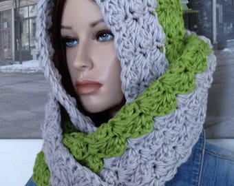 Handmade Scarf for Winter, Cowl Scarf Clay Olive Green Scarf Reversible Thick Scarf Blanket Scarf Stitch Scarf for Him or Her Ready to Ship