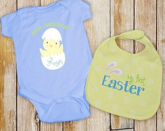 Baby's First Easter Blue Personalized Creeper & Bib , Personalized Easter Shirt and Bib Set, Baby Boy's First Easter