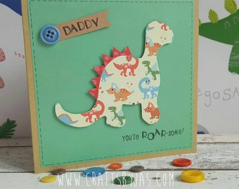 Daddy You're Roar-some - Handmade Father's day card - dad -dinosaurs