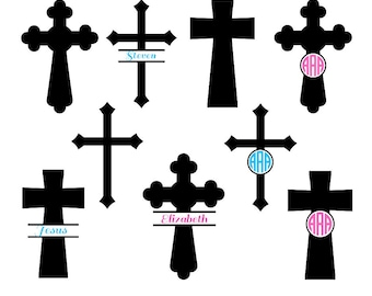 Cross svg silhouette, Christian Cross SVG Cut Files, cross monogram svg, Christian Svg, Monogram Frames, Cricut files, svg, dxf, eps, png.