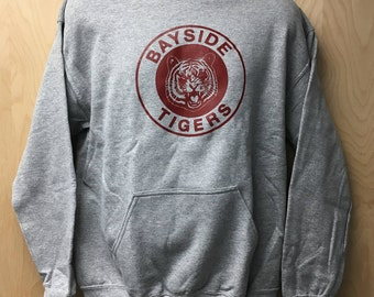 Bayside Tigers Logo Hooded Sweatshirt TV Show Zack Morris AC Slater Kelly Kapowski Halloween Costume Hoodie Sweater Jumper 80s 90s Gift Idea
