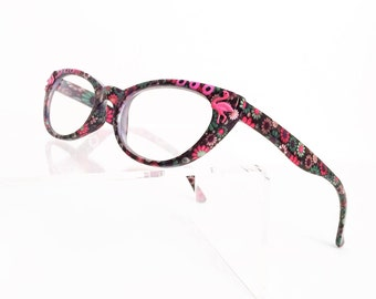 Reading Glasses Cat Eye with Pink Flamingo, Women's readers +2.00