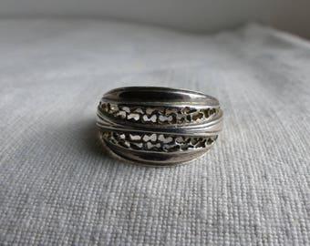 Vintage Sterling Silver filigree Band Ring / Sterling Silver Ring / band ring / Wide Band ring