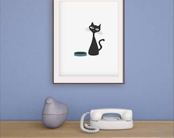 Cat Wall Art, Retro Living Room, Mid Century Affiche, Retro Cat Prints,