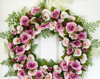 Spring Pink and Violet Rose Front Door Wreath