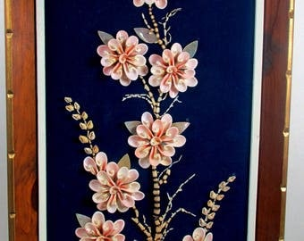 70s Seashell 3D Art Flowers Made from Shells Framed Picture 14 x 26 Handmade in Philippines