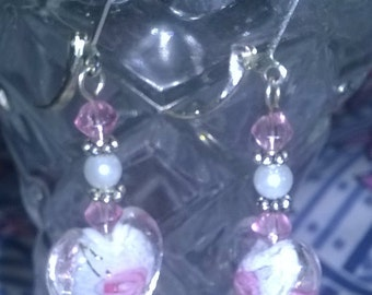 Handmade heart shaped earrings