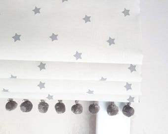 Mini Grey Stars Blackout Lined Roman Blind - Made to Measure