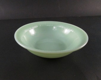 "Anchor Hocking Fire King  Jadeite Jane Ray Pattern 6"" Diameter Soup Bowl Fire King Hallmark (2 available)"