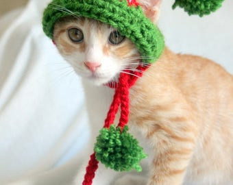 Elf Hat for Cats, Cat Elf Hat, Holiday Cat Hat, Christmas Hat for Cats and Kittens, Christmas Cat Hat, Elf Cat Hat, Christmas Cat Accessory