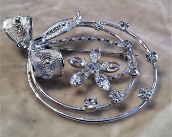 Sterling Silver Rhinestone Brooch