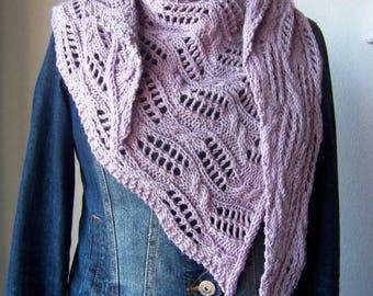"""Shawl Knitting PATTERN PDF, Knitted Shawl Pattern, Lace Shawl Wrap, asymetrical Shawl """"Hemera"""""""