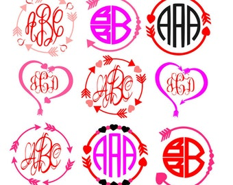 Heart Arrow Monogram Frames SVG, valentines SVG, Eps Png Dxf,  Valentines day,  Cricut Silhouette Studio, Digital Cut Files Instant Download