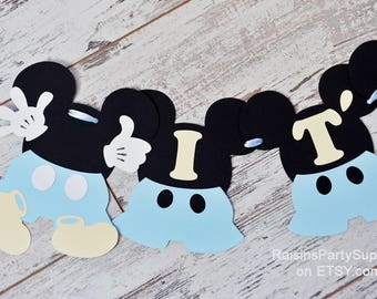 Baby Mickey Mouse baby shower decorations boy - Disney inspired baby blue party decorations Mickey Baby shower banner It's a boy Welcome