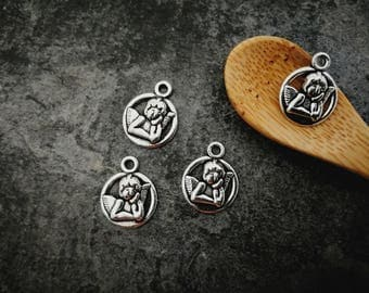 Charm angel round charms, charms silver metal, 17 x 13 mm