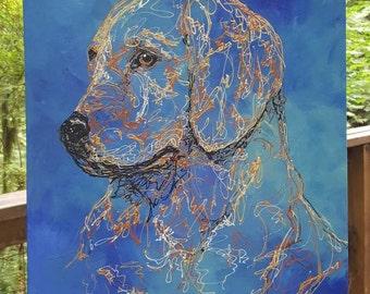 Beautiful Golden Retriever Oil Painting