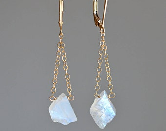 Raw Moonstone Earrings, June Birthstone, Rustic Jewelry, Raw Crystal Earrings Rainbow moonstone: 14k Gold Filled, Rose Gold, Sterling Silver