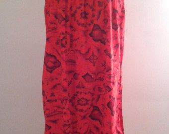 Vintage 1960's Ui-Maikai Sleeveless Red Hawaiian Volcano Flower Surfer Print Muumuu Dress Tropical Resort Mid Century
