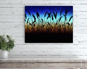 Sunset Landscape Canvas, Sunset Landscape Painting, Landscape Sunset Art Print, Country Landscape Painting, Wheat Field Art Print