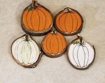 Set of 5 Wood Slice Pumpkins