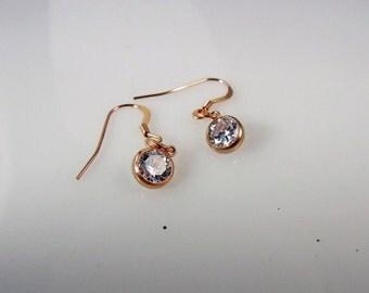 Rose Gold-Crystal-Swarovski-Dangle-Earrings-for her