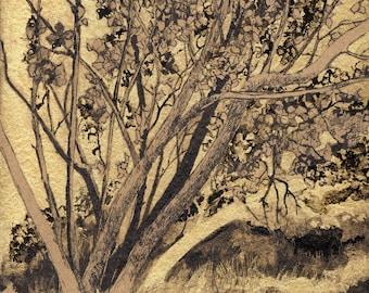 Hazel tree - 200 mm x 300 mm - Golden background