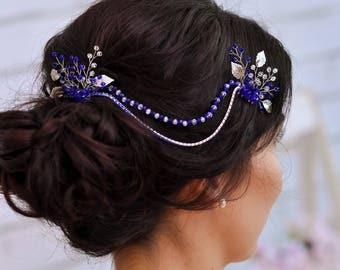 Rhinestone hair accessories Wedding hair piece Rhinestone hair pins Crystal hair piece Wedding hair comb Bridal head piece Bridal hair chain