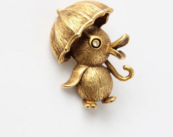 Butler and Wilson Duck with Umbrella Brooch Gold Tone